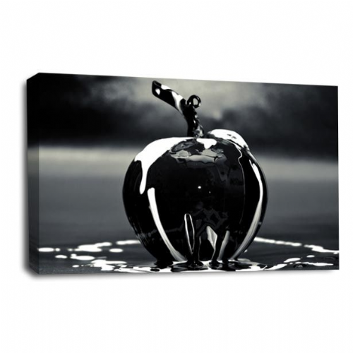 Large Modern Abstract Canvas Wall Art Silver Apple Picture Print